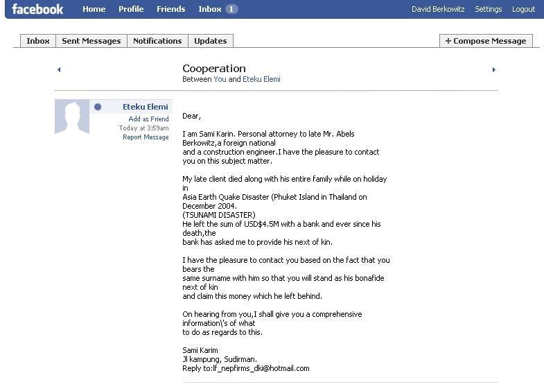 Facebook nigerian spam