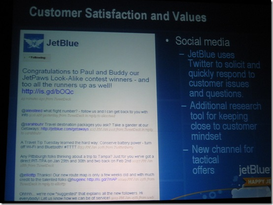 JetBlue on Twitter and Social Media Values - Forrester Marketing Forum 2009