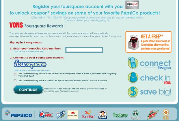 Foursquare-vons-rewards